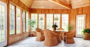 Wicker Dining Set in a Sunroom