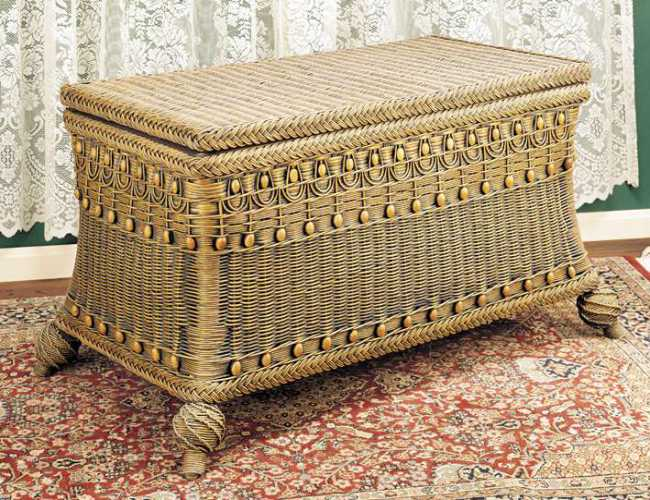 Victorian Wicker Storage Trunk