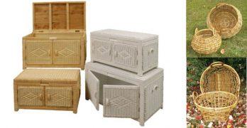 Wicker Storage Trunks and Rattan Baskets