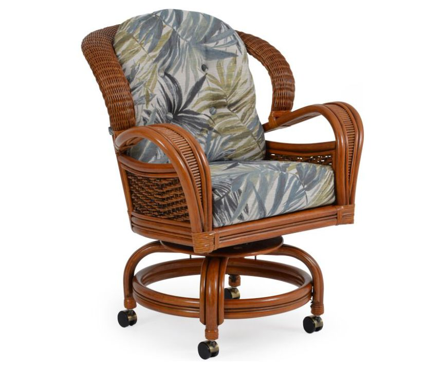 Lucia Rattan Swivel Caster Dining Chair
