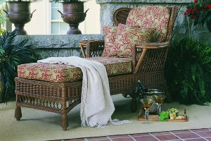 Wingback Wicker Chaise