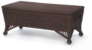Eastern Shore Wicker Storage Bench with a Dark Walnut Stain Finish