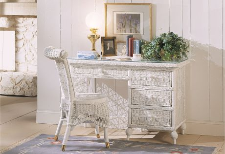 Victorian Wicker Desk and Chair White Finish