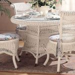 Classic Victorian Wicker Dining Set White Finish