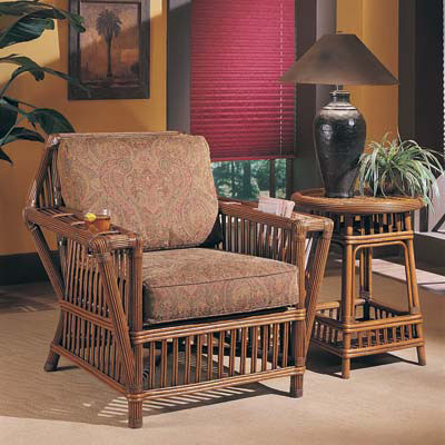 Williamsburg Rattan Arm Chair and Side Table