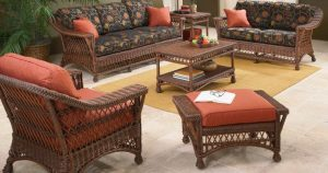 Bar Harbor Indoor Wicker Furniture in Coffee Finish
