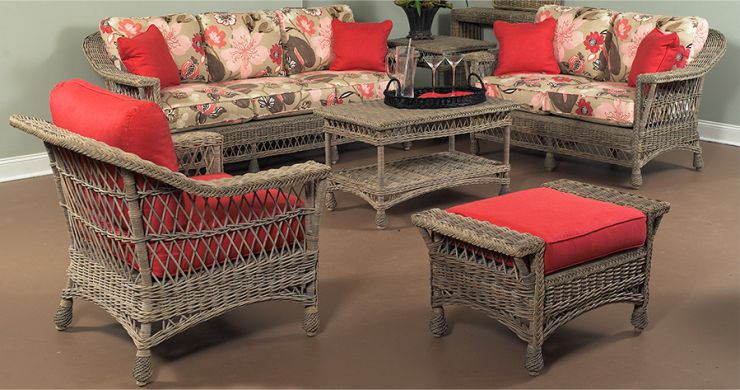 Bar Harbor Indoor Wicker Furniture in Weathered Grey Finish
