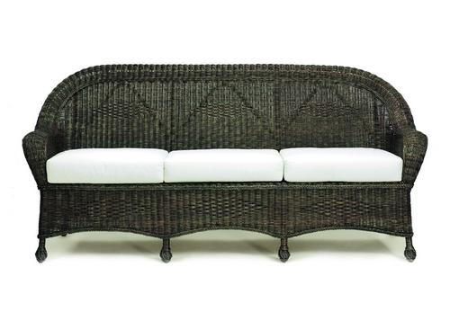 Closed Weave Wicker Sofa in Black Finish