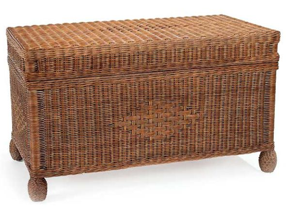 Cottage Wicker Storage Trunk in Chestnut Finish