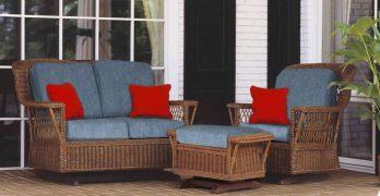 Wicker Glider Chair and Loveseat