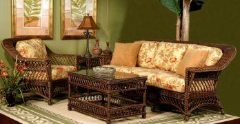 Bar Harbor Indoor Wicker Sofa_Coffee_Table_Arm Chair Brown Wash Finish