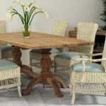 Wicker Dining Chairs with All Wood Table