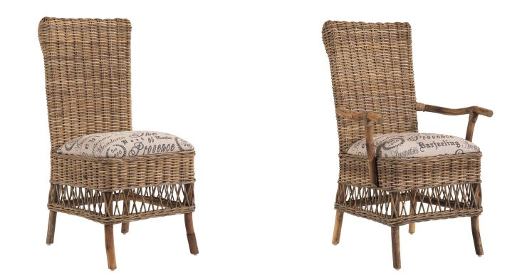 Wicker Dining Chairs Weathered Grey