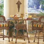 Outdoor Wicker Pub Table Bar Stool Set Brown Wash Finish