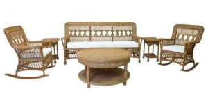 Natural Wicker Furniture Set in Chestnut Finish