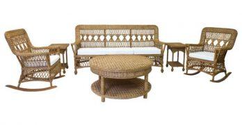 Natural Wicker Furniture Set in Chestnut Finish