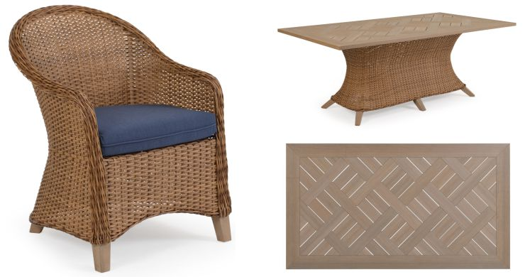 Savannah Resin Outdoor Wicker Dining Table and Top View with Dining Chair