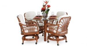 Hana Rattan Dining Set with Swivel Caster Dining Chairs
