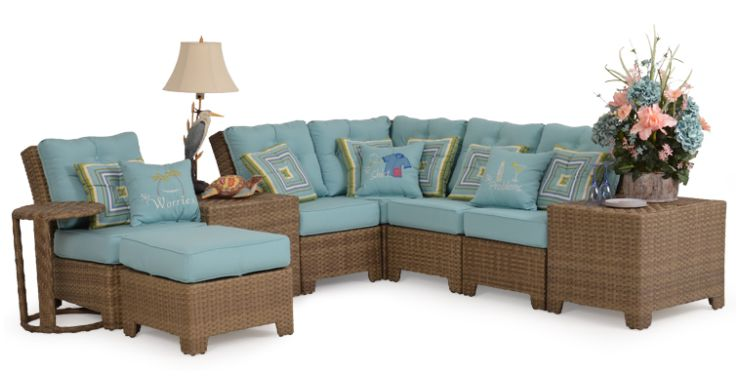 Isabel Resin Outdoor Wicker Sectional Set Sandbar Grey Finish
