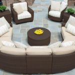 Saddle Back Resin Outdoor Wicker Conversational Sectional