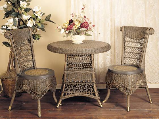 Classic Wicker Tea Table Set Brown Wash Finish