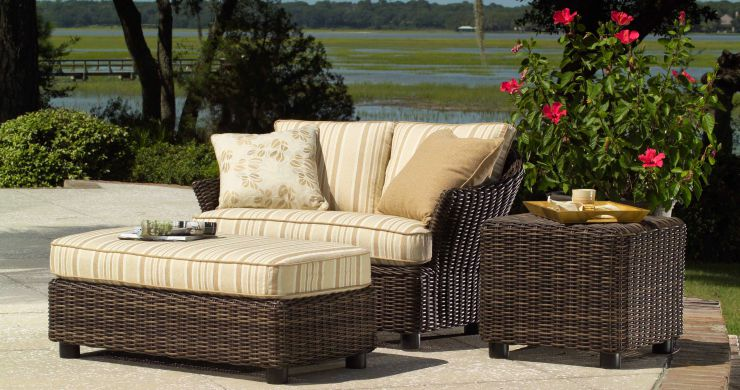 Sonoma Resin Outdoor Wicker Chair and A Half and Ottoman and A Half