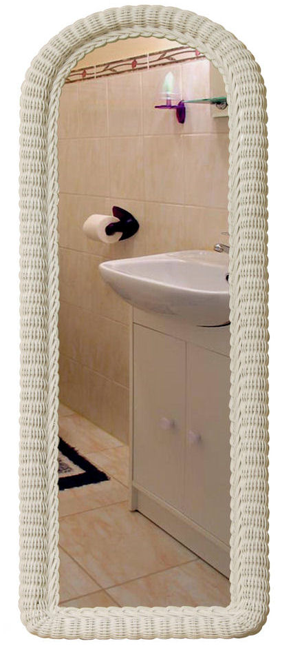 White Wicker Wall Dressing Mirror