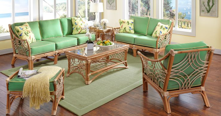 Bali Indoor Natural Rattan Sunroom Furniture Set Hickory Fabric with Lemon Cording