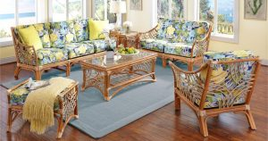 Indoor Bali Natural Rattan Sunroom Furniture Set with Clemens Sunblue and Lemon Cord