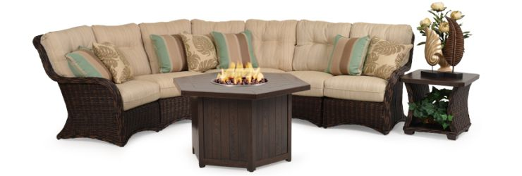 Lacovia Resin Outdoor Wicker Sectional with Fireplace