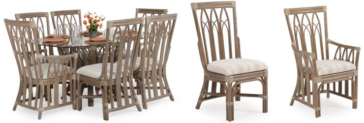 Tradewinds Indoor Rattan Dining Set Weathered Grey Finish