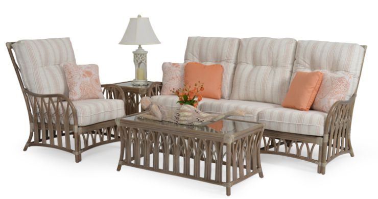 Tradewinds Indoor Rattan Sunroom Furniture Set Weathered Grey Finish