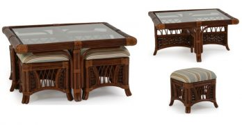 Aruba Indoor Rattan Cocktail Table with Stools