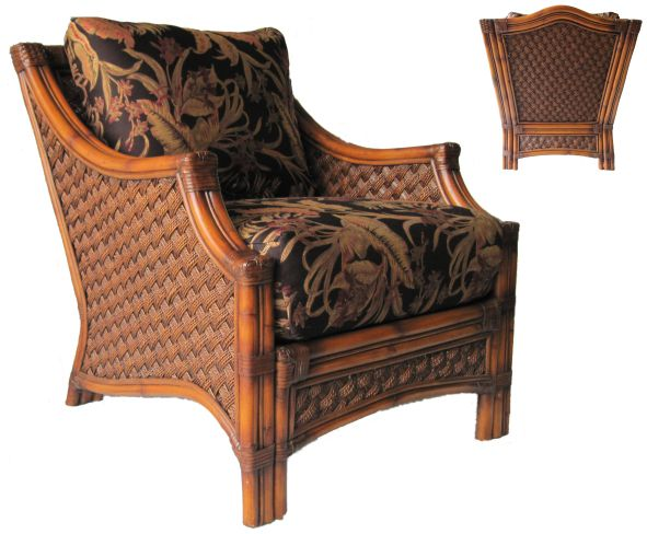 Mauna Loa Indoor Rattan Wicker Arm Chair Brown Wash Finish with Front view and Rear View