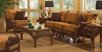 Mauna Loa Indoor Rattan Wicker Furniture Set Brown Wash Finish