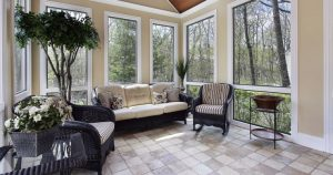 Sunroom with Black Wicker Furniture