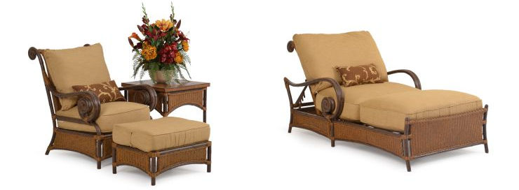Tuscany Outdoor Wicker Lounge Chair - Ottoman - Side Table - Chaise Lounge