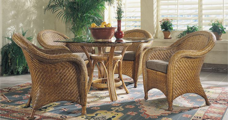 Natural Indoor Wicker Rattan Dining Set