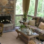 Sunroom with Wicker Furniture and Fireplace