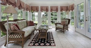 Sunroom with Brown Wicker Furniture