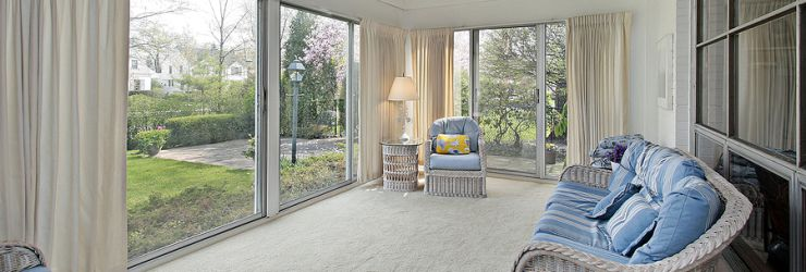 Sunroom with Carpet Flooring