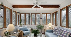 Sunroom with Ceiling Fan and Rattan Furniture