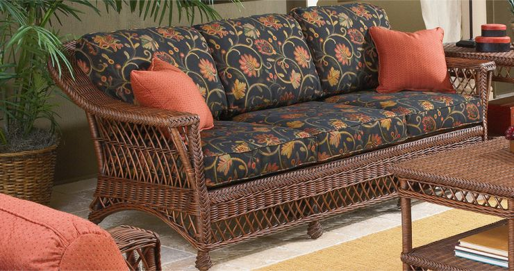 Bar Harbor Wicker Sofa Coffee Finish