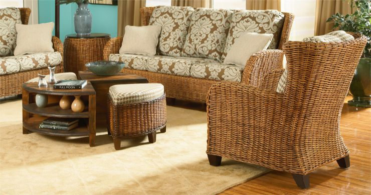 Clarissa Rattan Wicker Sunroom Sofa