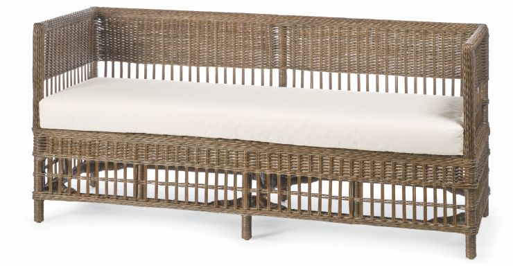 Indoor Wicker Daybed Dark Walnut Stain Finish