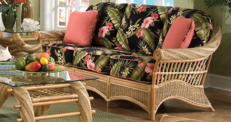 Maui Twist Rattan Wicker Sunroom Sofa