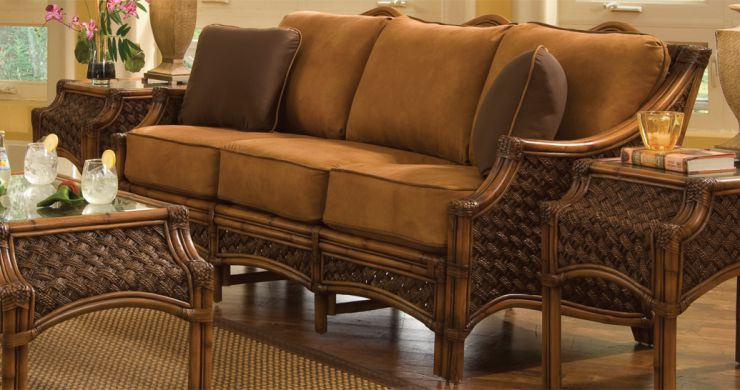 Mauna Loa Rattan Wicker Sunroom Sofa Brown Wash Finish