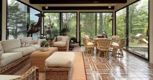 Sunroom with Wicker Furniture Rattan Dining Set