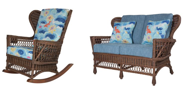 Concord Wicker Rocking Chair and Loveseat
