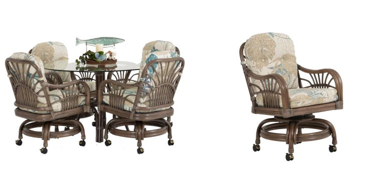 Hana Rattan Dining Set with Caster Chairs in Espresso Finish